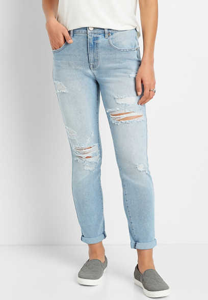 Vintage High Rise Light Wash Destructed Mom Jean