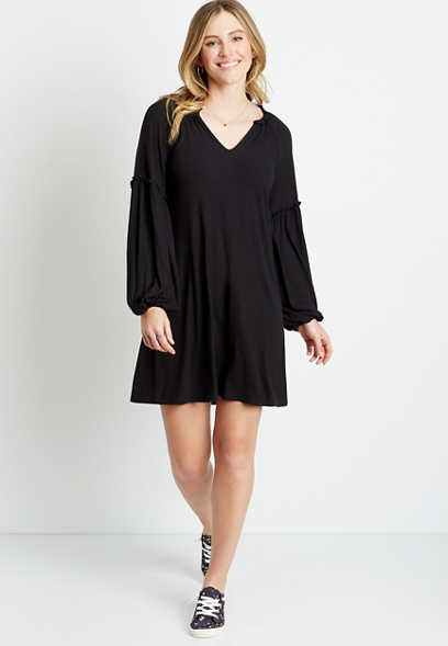 Black Ribbed Blouson Sleeve Shift Dress