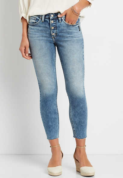 Silver Jeans Co.® Suki Medium Wash Button Fly Cropped Jean