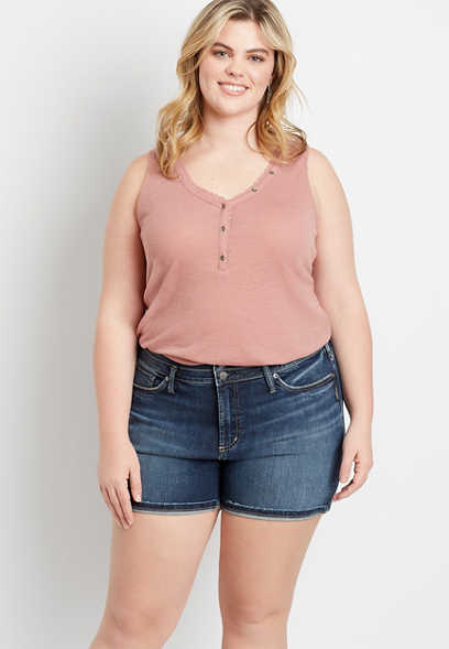 Plus Size Silver Jeans Co.® Suki Dark Double Button 6in Short
