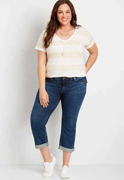 Plus Size Silver Jeans Co.® Suki Dark Wash Capri