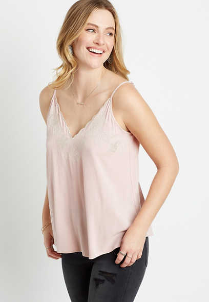 Light Pink Embroidered Scalloped Tank Top