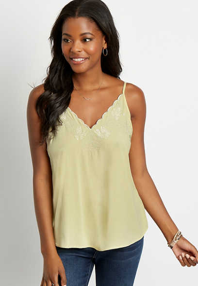 Yellow Embroidered Scalloped Tank Top