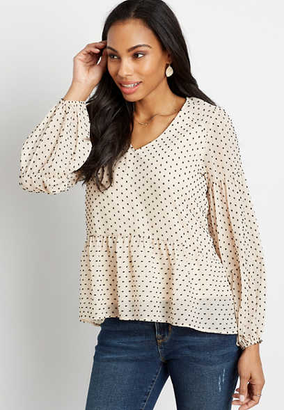 White Swiss Dot Long Sleeve Babydoll Top