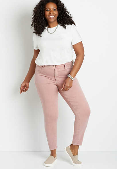 Plus Size High Rise Pink Double Button Jegging Made With REPREVE®