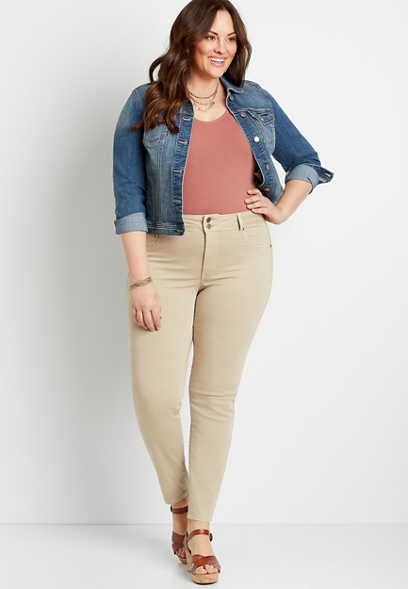 Plus Size High Rise Khaki Double Button Jegging Made With REPREVE®