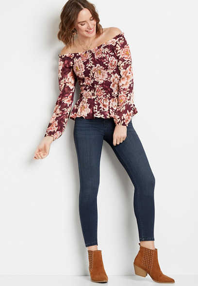 Chance & Destiny™ Wine Floral Smocked Top