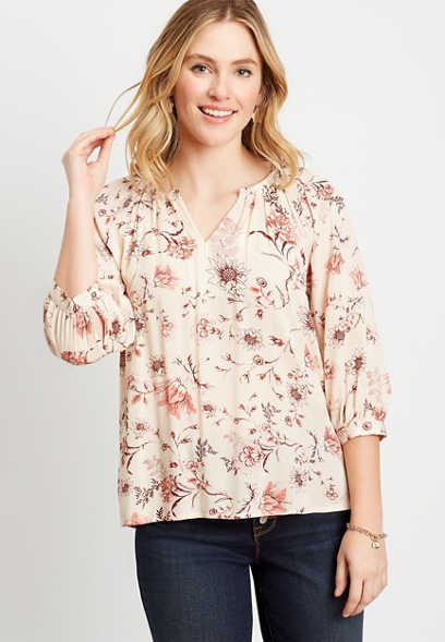 Beige Floral 3/4 Sleeve Peasant Top