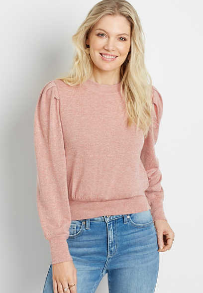 Chance & Destiny™ Pink Metallic Puff Sleeve Pullover Sweatshirt
