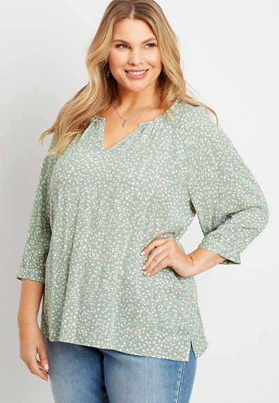 Plus Size Leopard Dot 3/4 Sleeve Peasant Top