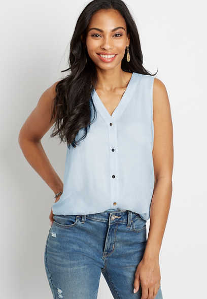 Light Blue Button Down Tank Top