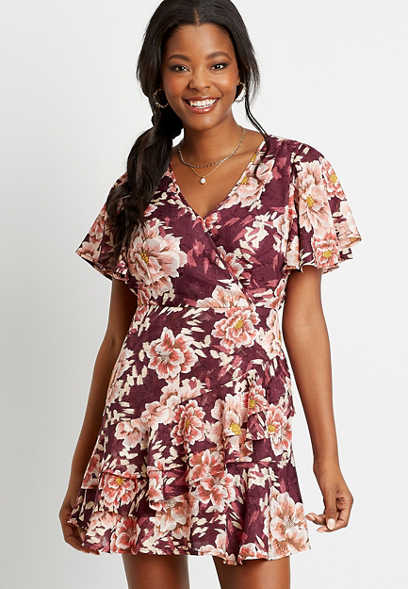 Wine Floral Wrap Mini Dress