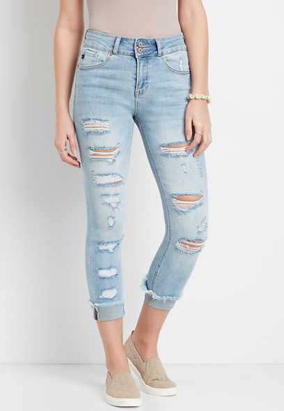 KanCan™ High Rise Light Ripped Cropped Jean