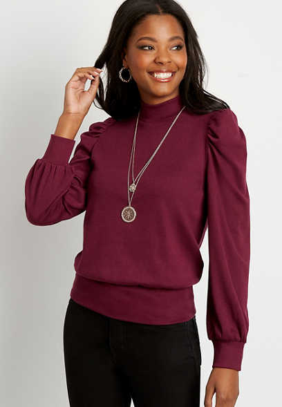 Chance & Destiny™ Wine Mock Neck Puff Sleeve Pullover Sweatshirt
