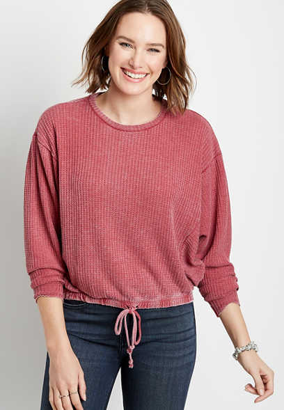Solid Waffle Knit Tie Bottom Crew Neck Pullover