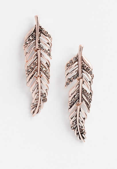 Rose Gold Hinged Feather Stud Earrings