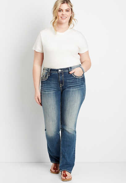 Plus Size Vigoss® Medium Wash Americana Pocket Slim Boot Jean
