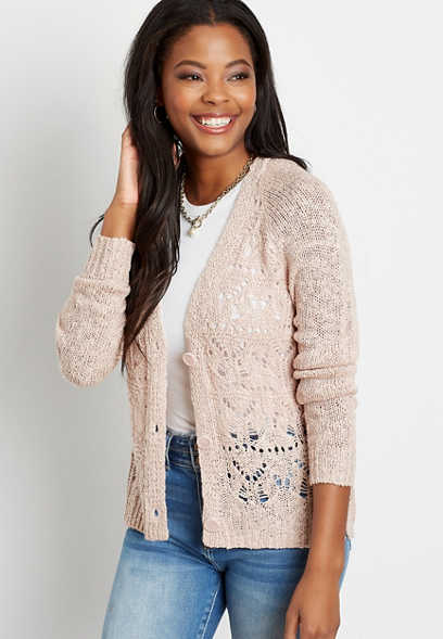 Solid Lace Stitch Button Front Cardigan