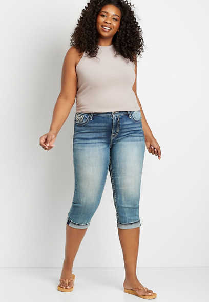 Plus Size Vigoss® Medium Wash Stitch Pocket Capri