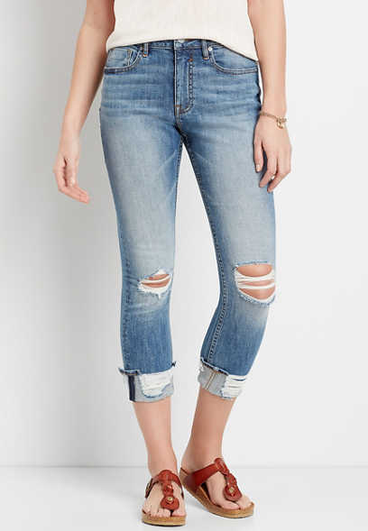 Vigoss® High Rise Medium Ripped Cropped Jean