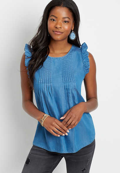 Chambray Pleated Flutter Sleeve Tank Top