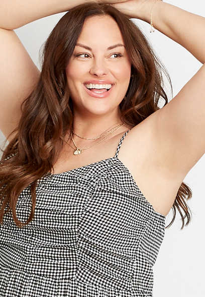 Plus Size Black Gingham Ruched Top Mini Dress