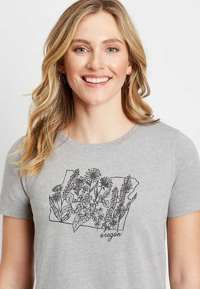 Gray Oregon State Flower Graphic Tee