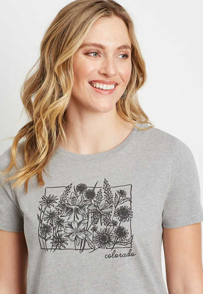 Gray Colorado State Flower Graphic Tee