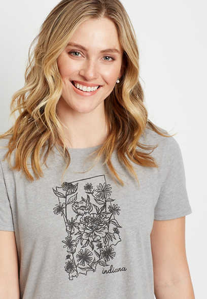 Gray Indiana State Flower Graphic Tee