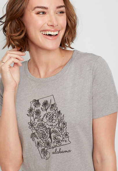 Gray Alabama State Flower Graphic Tee