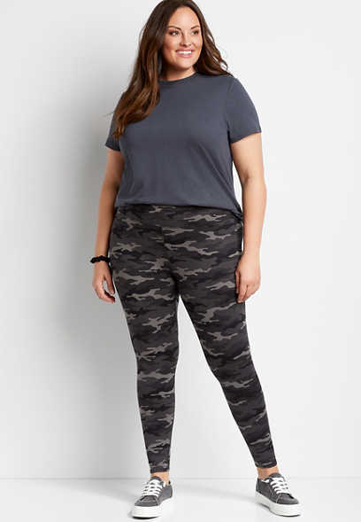 Plus Size High Rise Camo Full Length Luxe Legging