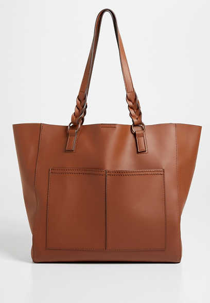 Cognac Braided Strap Tote Bag