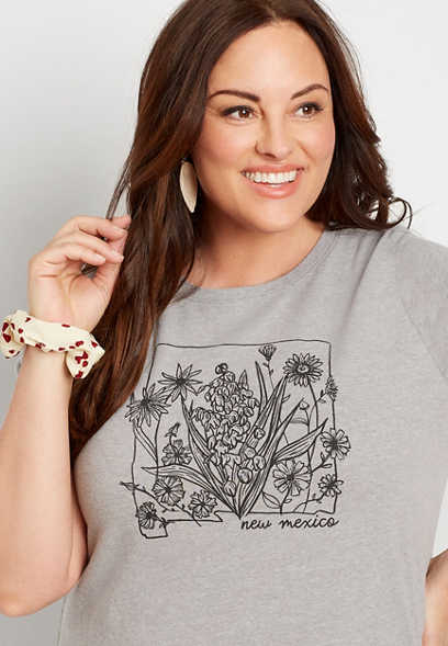 Plus Size Gray New Mexico State Flower Graphic Tee