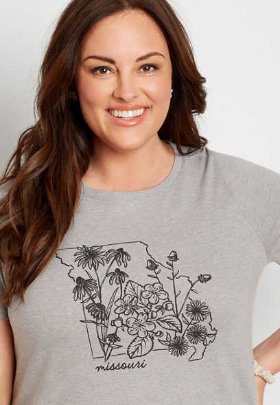 Plus Size Gray Missouri State Flower Graphic Tee