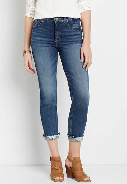 edgely™ Premium High Rise Dark Destructed Hem Slim Straight Leg Jean