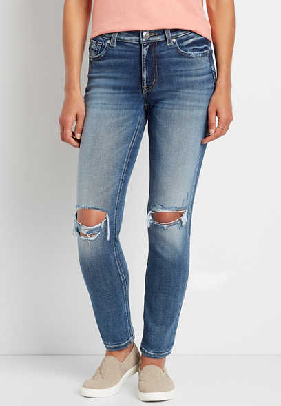 edgely™ Premium High Rise Medium Destructed Slim Straight Leg Jean