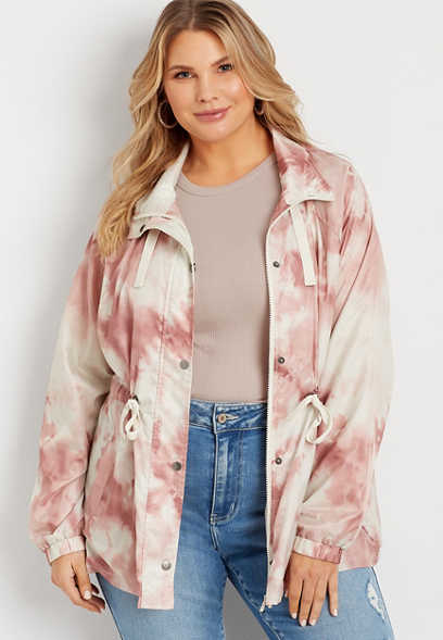 Plus Size Pink Tie Dye Cinch Waist Windbreaker
