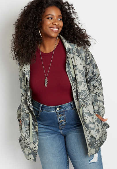 Plus Size Green Mix Camo Cinch Waist Windbreaker