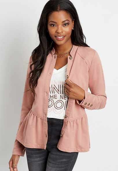 Pink Ruffle Hem Knit Military Jacket