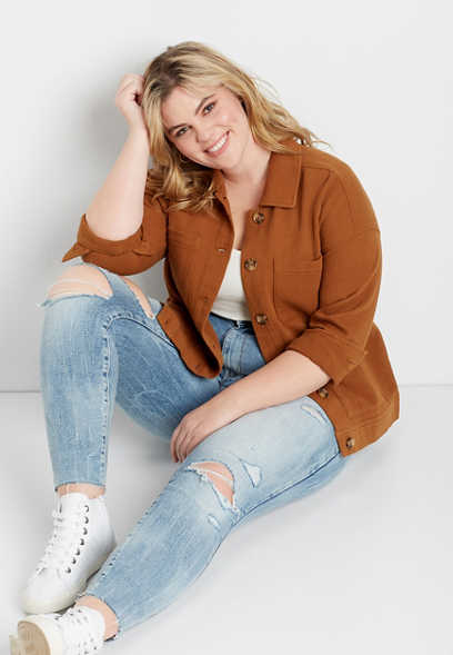 Plus Size Cognac Pocket Cinched Utility Jacket