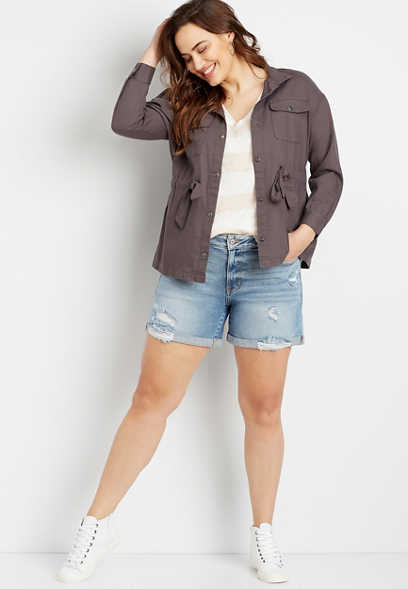 Plus Size Gray Cinch Waist Jacket