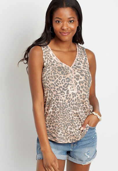 24/7 Leopard Ribbed Lace Trim Tank Top