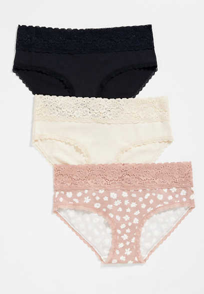3 Pack Pink Floral Cotton Hipster Panties