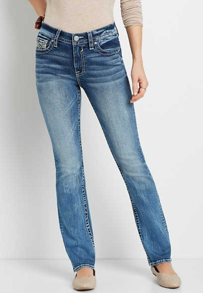Vigoss® Medium Wash Thick Stitch Pocket Slim Boot Jean
