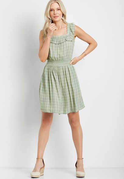 Light Green Plaid Ruffle Trim Mini Dress