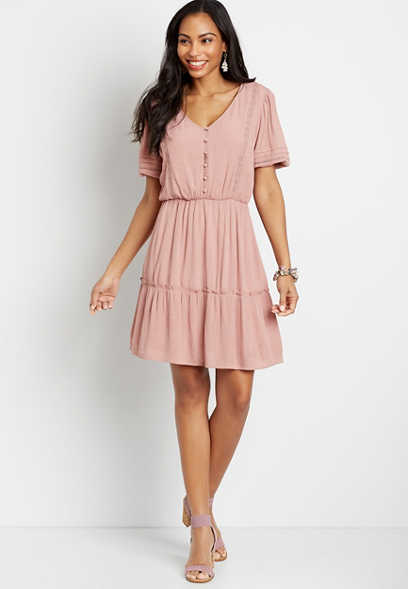 Pink Button Front Puff Sleeve Mini Dress