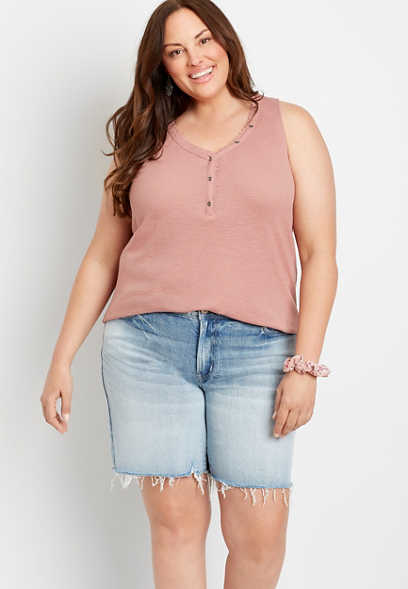 Plus Size High Rise Light Ripped Hem Relaxed Bermuda Short