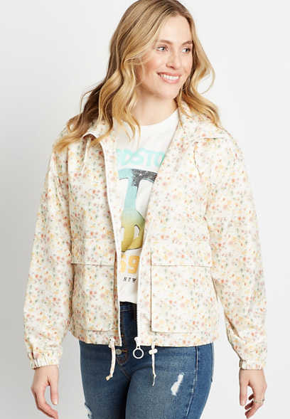 White Floral Zip Up Cropped Windbreaker