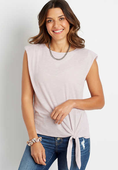 Lilac Puff Shoulder Tie Front Tank Top