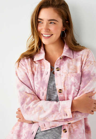Pink Tie Dye Oversized Shacket